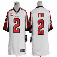 Nike Falcons #2 Matt Ryan White With C Patch Men's Stitched NFL Game Jersey