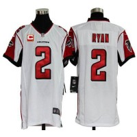 Nike Falcons #2 Matt Ryan White With C Patch Youth Stitched NFL Elite Jersey