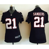 Nike Falcons #21 Deion Sanders Black Alternate Women's Stitched NFL Elite Jersey