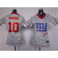 Nike Giants #10 Eli Manning Zebra Women's Stitched NFL Elite Jersey