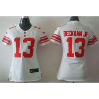 Nike Giants #13 Odell Beckham Jr White Women's Stitched NFL Elite Jersey