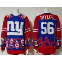 Nike Giants #56 Lawrence Taylor Royal BlueRed Men's Ugly Sweater