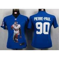 Nike Giants #90 Jason Pierre-Paul Royal Blue Team Color Women's Portrait Fashion NFL Game Jersey