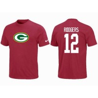 Nike Green Bay Packers #12 Aaron Rodgers Name & Number NFL T-Shirt Red
