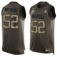 Nike Green Bay Packers #52 Clay Matthews Green Men's Stitched NFL Limited Salute To Service Tank Top Jersey