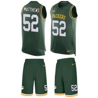 Nike Green Bay Packers #52 Clay Matthews Green Team Color Men's Stitched NFL Limited Tank Top Suit Jersey