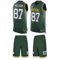 Nike Green Bay Packers #87 Jordy Nelson Green Team Color Men's Stitched NFL Limited Tank Top Suit Jersey