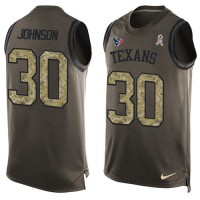 Nike Houston Texans #30 Kevin Johnson Green Men's Stitched NFL Limited Salute To Service Tank Top Jersey