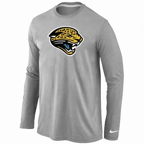 Top Nike Jacksonville Jaguars Logo Long Sleeve T Shirt Grey  for cheap