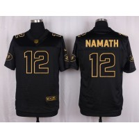 Nike Jets #12 Joe Namath Black Men's Stitched NFL Elite Pro Line Gold Collection Jersey