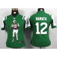 Nike Jets #12 Joe Namath Green Team Color Women's Portrait Fashion NFL Game Jersey