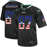 Nike Jets #87 Eric Decker Black Men's Stitched NFL Elite USA Flag Fashion Jersey