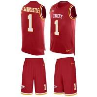 Nike Kansas City Chiefs #1 Leon Sandcastle Red Team Color Men's Stitched NFL Limited Tank Top Suit Jersey