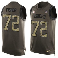 Nike Kansas City Chiefs #72 Eric Fisher Green Men's Stitched NFL Limited Salute To Service Tank Top Jersey