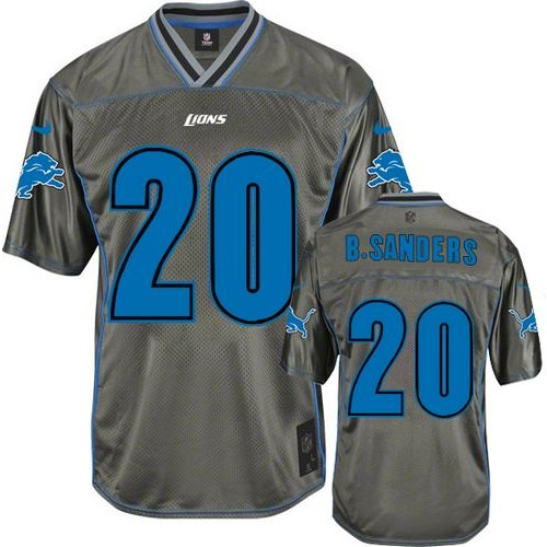Hot Nike Lions #20 Barry Sanders Grey Men's Stitched NFL Elite Vapor Jersey  free shipping
