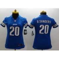 Nike Lions #20 Barry Sanders Light Blue Team Color Women's Stitched NFL Limited Jersey