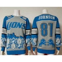 Nike Lions #81 Calvin Johnson BlueGrey Men's Ugly Sweater