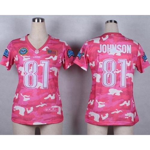 Wholesale Nike Lions #81 Calvin Johnson Pink Women's Stitched NFL Elite Camo  for sale