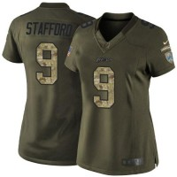 Nike Lions #9 Matthew Stafford Green Women's Stitched NFL Limited Salute to Service Jersey