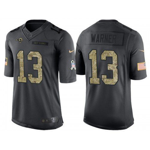 check out 8426f 57c9d Nike Los Angeles Rams  13 Kurt Warner Men s Stitched Anthracite NFL Salute  to Service Limited Jerseys