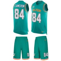 Nike Miami Dolphins #84 Jordan Cameron Aqua Green Team Color Men's Stitched NFL Limited Tank Top Suit Jersey