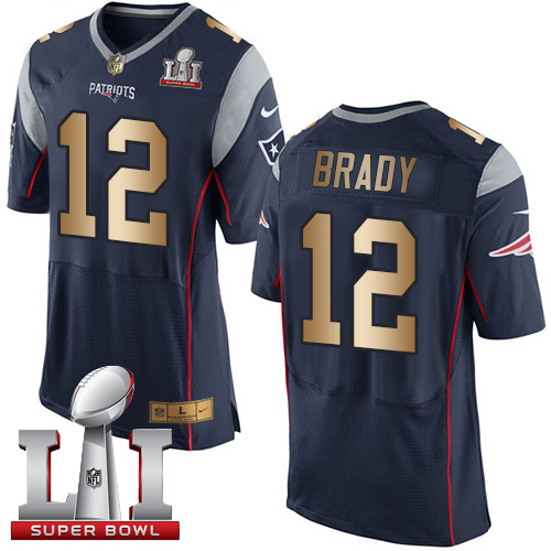 Nike New England Patriots #12 Tom Brady Navy Blue Team Color Super