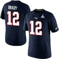 Nike New England Patriots #12 Tom Brady Pride Name & Number 2015 Super Bowl XLIX NFL T-Shirt Navy Blue