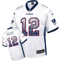 Nike New England Patriots #12 Tom Brady White Men's Stitched NFL Elite Drift Fashion Jersey