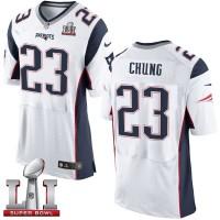 Nike New England Patriots #23 Patrick Chung White Super Bowl LI 51 Men's Stitched NFL New Elite Jersey