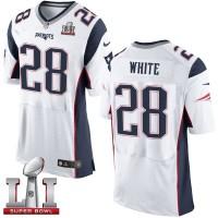 Nike New England Patriots #28 James White White Super Bowl LI 51 Men's Stitched NFL New Elite Jersey
