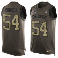 Nike New England Patriots #54 Tedy Bruschi Green Men's Stitched NFL Limited Salute To Service Tank Top Jersey