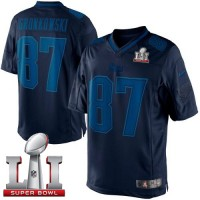 Nike New England Patriots #87 Rob Gronkowski Navy Blue Super Bowl LI 51 Men's Stitched NFL Drenched Limited Jersey