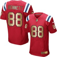 Nike New England Patriots #88 Martellus Bennett Red Alternate Men's Stitched NFL Elite Gold Jersey