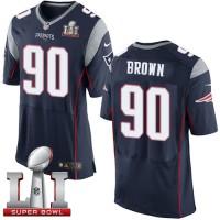 Nike New England Patriots #90 Malcom Brown Navy Blue Team Color Super Bowl LI 51 Men's Stitched NFL New Elite Jersey