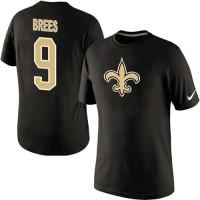 Nike New Orleans Saints #9 Drew Brees Name & Number NFL T-Shirt Black