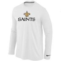 Nike New Orleans Saints Authentic Logo Long Sleeve T-Shirt White