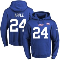 Nike New York Giants #24 Eli Apple Royal Blue Name & Number Pullover NFL Hoodie