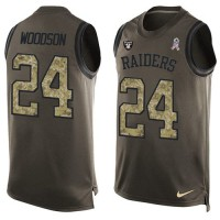 Nike Oakland Raiders #24 Charles Woodson Green Men's Stitched NFL Limited Salute To Service Tank Top Jersey