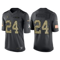 Nike Oakland Raiders #24 Charles Woodson Men's Stitched Anthracite NFL Salute to Service Limited Jerseys