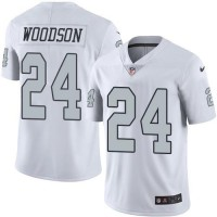 Nike Oakland Raiders #24 Charles Woodson White Men's Stitched NFL Limited Rush Jersey