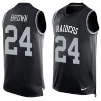Nike Oakland Raiders #24 Willie Brown Black Team Color Men's Stitched NFL Limited Tank Top Jersey