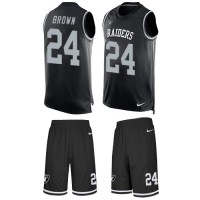 Nike Oakland Raiders #24 Willie Brown Black Team Color Men's Stitched NFL Limited Tank Top Suit Jersey