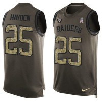 Nike Oakland Raiders #25 D.J. Hayden Green Men's Stitched NFL Limited Salute To Service Tank Top Jersey