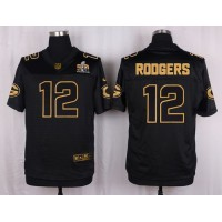 Nike Packers #12 Aaron Rodgers Black Men's Stitched NFL Elite Pro Line Gold Collection Jersey