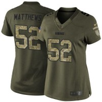 Nike Packers #52 Clay Matthews Green Women's Stitched NFL Limited Salute to Service Jersey