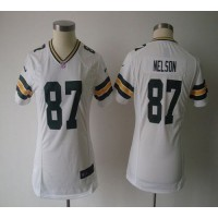Nike Packers #87 Jordy Nelson White Women's NFL Game Jersey