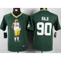 Nike Packers #90 B.J. Raji Green Team Color Youth Portrait Fashion NFL Game Jersey