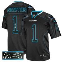 Nike Panthers #1 Cam Newton Lights Out Black Men's Stitched NFL Elite Autographed Jersey