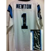 Nike Panthers #1 Cam Newton White Men's Stitched NFL Elite Autographed Jersey