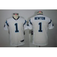 Nike Panthers #1 Cam Newton White Youth Stitched NFL Limited Jersey